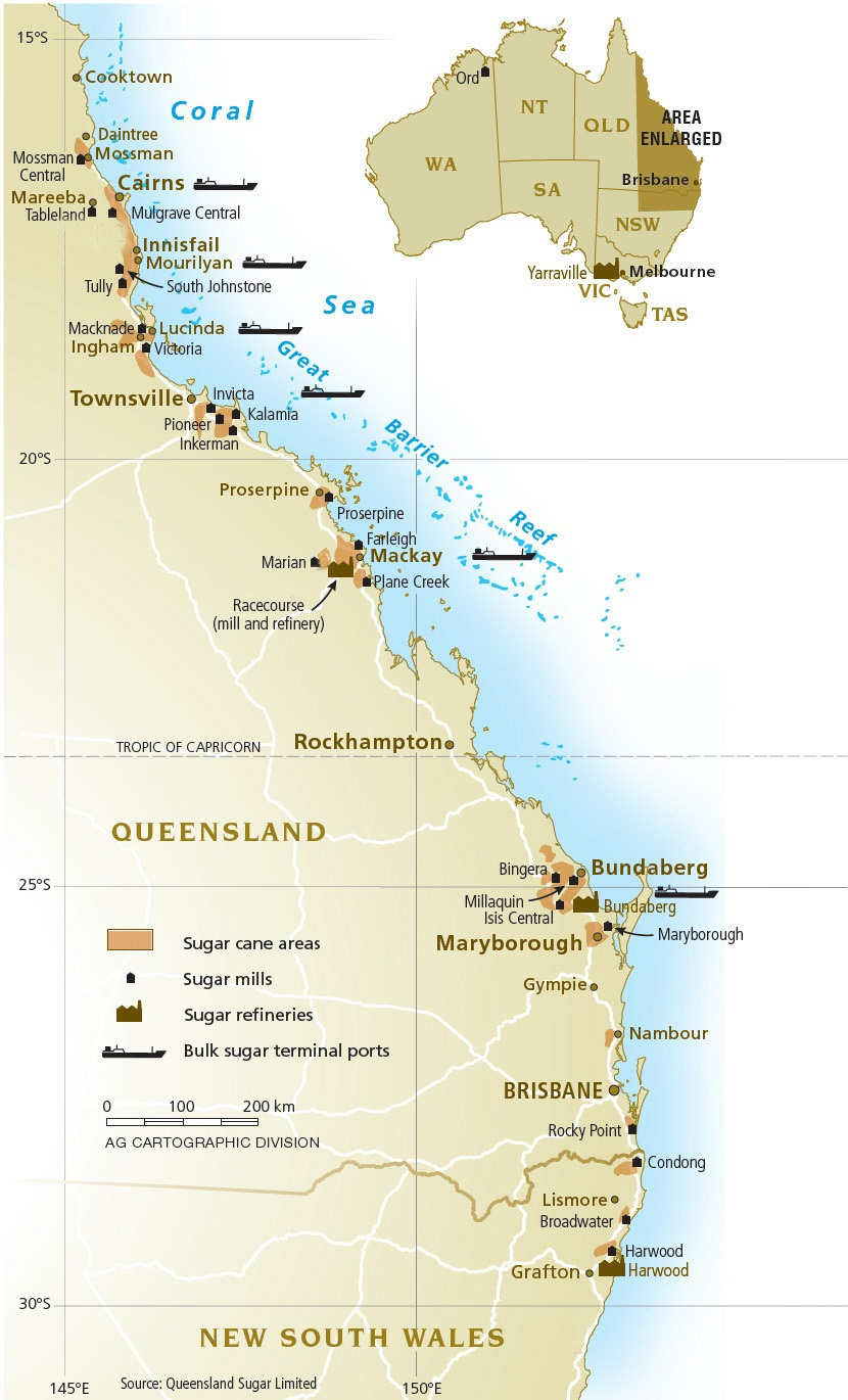 Map Australia Queensland.Raw Sugar Industry Overview Australian Sugar Milling Council